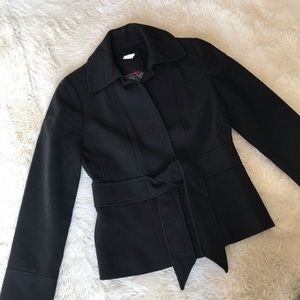 J. Crew herringbone wool tie-front blazer, black